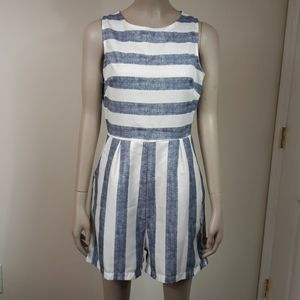 Women's Blue White Nautical Stripe Sz S Romper